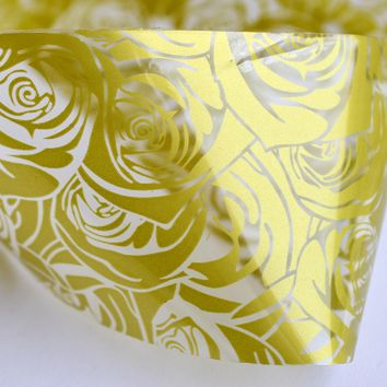 100cmx4cm NEW Foils Polish Designs Yellow Rose Beauty Stickers Nail Art Decals for Salon Express Adhesive Manicure STZXK20