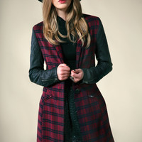 Boutique Harriet Wool Look Tartan PVC Sleeve Coat