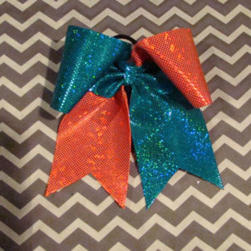 Teal and Orange Shimmery Dotted Criss Cross Cheer Bow