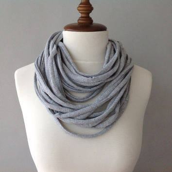 Gray Cotton Jersey Scarf, layered scarf, infinity scarf