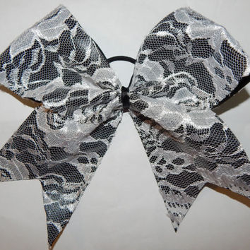 Super Cute White Lace Cheer Bow with Black Grosgrain Ribbon