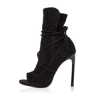Black suede wrap around peep toe boots - boots - shoes / boots - women