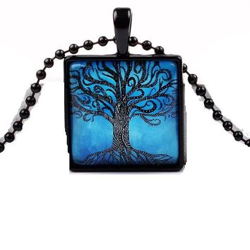 Square Glass Tree of Life Glass Pendant Necklace
