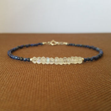 Lapis Lazuli and Moonstone Delicate Gemstone Bracelet with Sterling Silver Clasp, Dainty Sterling Silver Bracelet, Boho Chic Bracelet