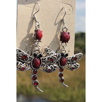 Dragonfly dangle gem earrings