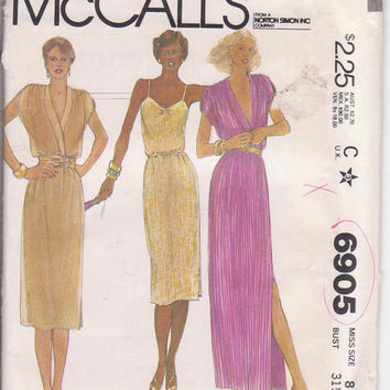 70s vintgage pattern for American Hustle special occasion pullover dress + slip dress knee or floor length misses size 8 McCalls 6905 UNCUT