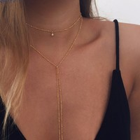 Dainty Layered Drop Necklace