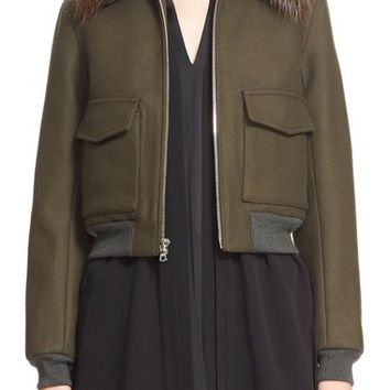Adam Lippes Wool Blend Twill Bomber Jacket with Removable Genuine Beaver Fur Collar   Nordstrom