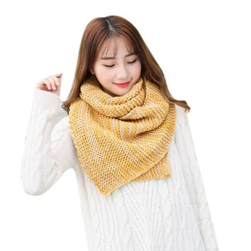 FEITONG Winter Warm Women Knit Cowl Neck Long Scarf Shawl Autumn And Winter