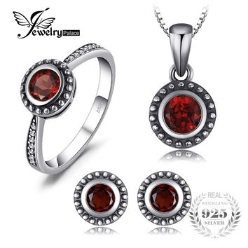 JewelryPalace Vintage 1.8ct Natural Garnet Ring Stud Earrings Pendant Necklaces Chain 45cm 925 Sterling Silver Fine Jewelry Sets