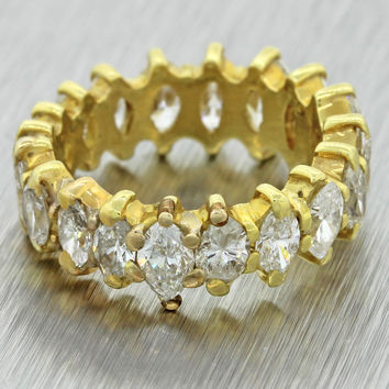 Vintage Estate 18k Solid Yellow Gold 3.50ctw Marquise Diamond Eternity Band Ring