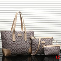 COACH Women Shopping Leather Tote Handbag Shoulder Bag Three Piece Set
