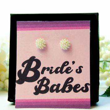 Bride's Babes Bachelorette Party Favor Pearl Earrings Gift