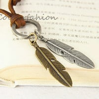 Feather Jewelry, Retro Charm Necklace, Brown Leather Chain,  Ring Charm, Bronze And Silver Charm, His and Hers, Gift for Lover  SC-20