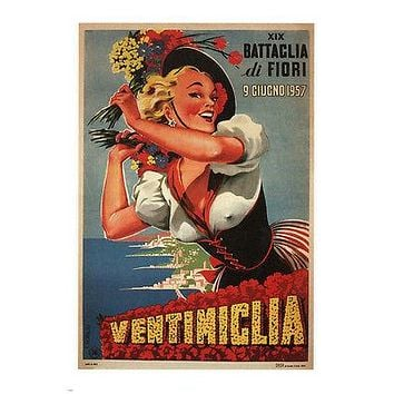 19th Battle of Flowers Ventimiglia Poster by Romoli Italy 1957 24x36 Sexy