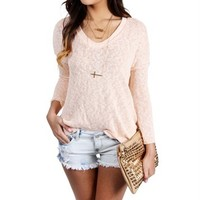 Peach Long Sleeve Oversize Sweater