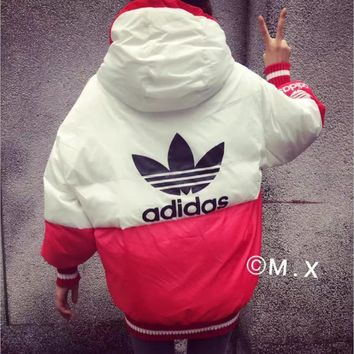 ADIDAS Fashion loose cotton-padded jacket bread warm cotton-padded clothes suit men and women Red