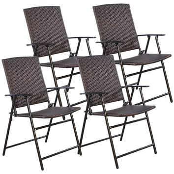 4 PCS Brown Folding Rattan Chair Furniture Outdoor Indoor Camping Garden Pool