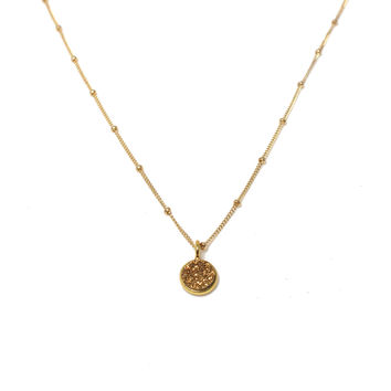 Gold Druzy Drop Satellite Chain Necklace