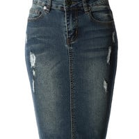 LE3NO Womens High Waisted Distressed Denim Pencil Skirt with Pockets