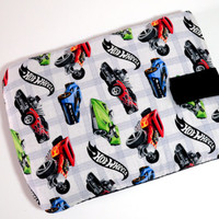 Hand Crafted Tablet Case from Licensed Hot Wheels Fabric /Case for:Kindle FireHD,Samsung Galaxy Tab,Google Nexus, iPad Air, iPad, iPad Mini,