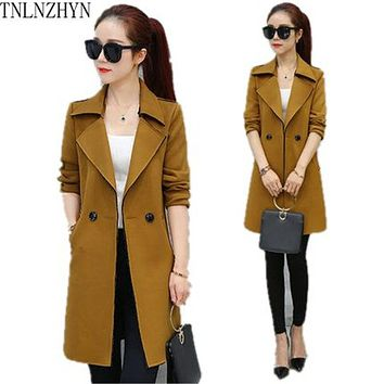 TNLNZHYN 2017 Korea Style Spring Women Trench Coat Medium Long Leisure Long Sleeve Trench Coat Lady Long Windbreak Outwear SK318