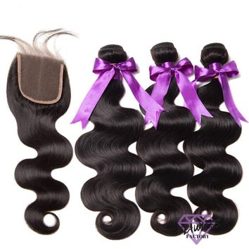 Brazilian Body Wave Hair Extensions 3 Bundles With Lace Closure