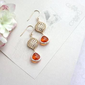 Orange, Tangerine Gold Mesh, Net, Dangle Glass Earrings. Oval Net Comb. Modern Bridesmaids Gifts. Maid of Honor, Mom, Sis, Orange Wedding