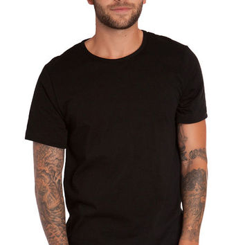 The Long Split Hem Tall Tee in Black