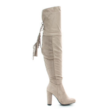 Hilltop28M by Wild Diva, Taupe Suede Pull-On Block Heel Over The Knee Boot Lace Tie Fastening Drawstring