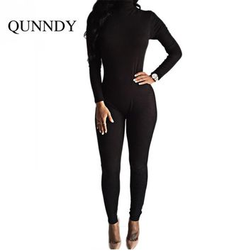 summer fitness Jumpsuit bodysuit women Long Sleeve High Neck solid workout Rompers Bodycon jumpsuits plus size combinaison femme