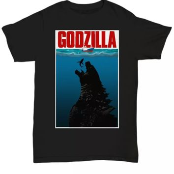 Godzilla eats Jaws funny horror t-shirt unisex adult