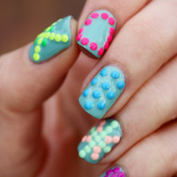 7 Colors 3D Mix Design Neon Studs Punk Style Stud Nail Art