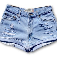 Distressed High Waisted Cut Off Jean Shorts