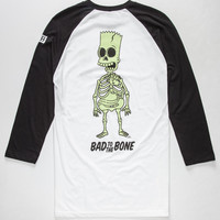 Neff X The Simpsons Bad To The Bone Mens Baseball Tee White/Black  In Sizes