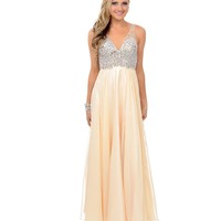 Champagne & Silver Rhinestone Beaded Chiffon Sleeveless V-Neck Long Dress 2015 Prom Dresses