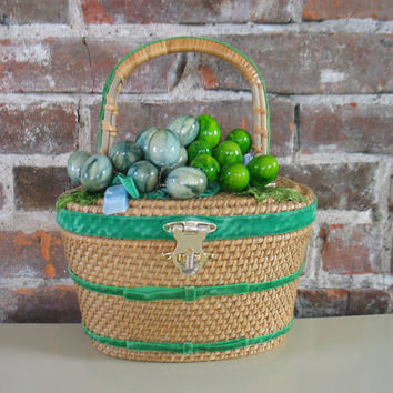 Vintage 50's basket purse Bille Ross of the Palm Beaches woven wicker