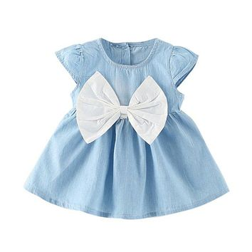 Baby Girls Bow-knot Design Mini Dress Children Fashion Short Sleeve Party Dress