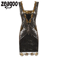 Zeagoo Brand Dress Women's Vintage 1920s Inspired Shining Black&Gold Sequin Art Deco Flapper Dress Perfect Wedding Party Dress