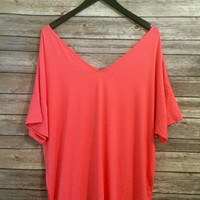 Piko Top Short Sleeve: Coral