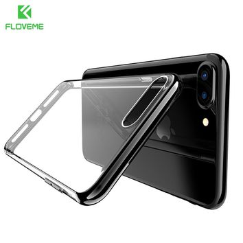 FLOVEME Original Case For iPhone 7 7 Plus Transparent Ultra Thin  Cover Case For iPhone 7 7 Plus Plating Frame Soft TPU Shell