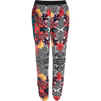 River Island Womens Red tropical print joggers