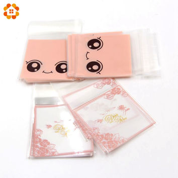 100PCS/Lot  Pink Rose / Big Eyes Transparent OPP Plastic Christmas Gift Bag Birthday Party Wedding Cookie Candy Packaging Bag