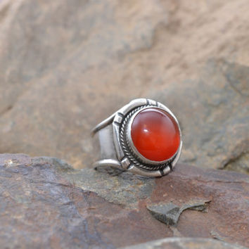Sterling Silver Carnelian Wide Band Ring