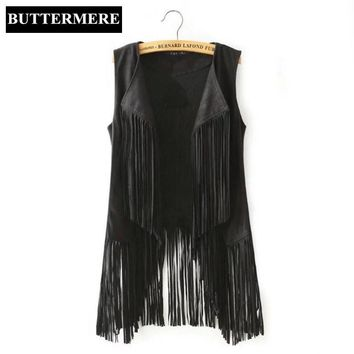 BUTTERMERE Brand Clothing Fringe Suede Vest Women Faux Leather Sleeveless Jacket Tassel Ethnic Waistcoat Black Brown Chalecos
