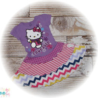 Altered, Upcycled, Hello Kitty Snowflake Dress, upcycled t-shirt dress size 3T