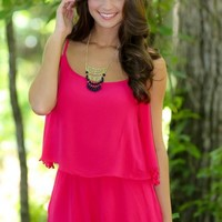 Some Nights Romper-Fuchsia