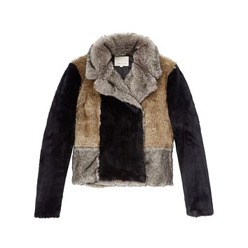 Patched Faux Fur Coat