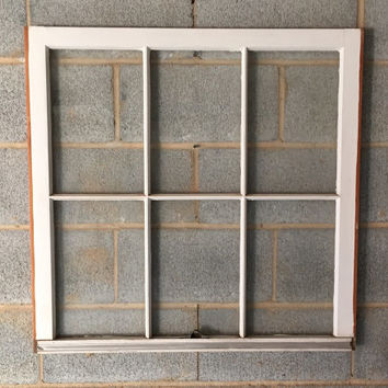 Vintage 6 Pane Window Frame - Off White, 32 x 31,  Rustic, Wedding, Beach, Home, Decor, Photos, Pictures, Christmas, Holiday Decor