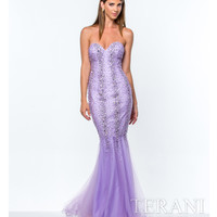 Lilac Pearl Embellished Mermaid Gown